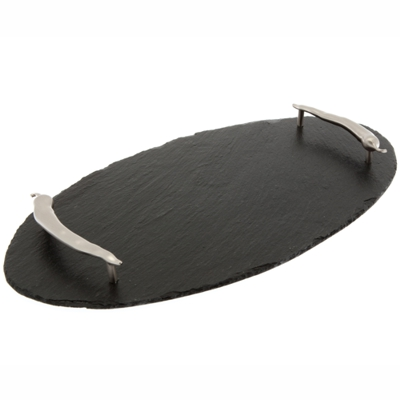 Natural Hand Cut Slate Oval Serving Tray